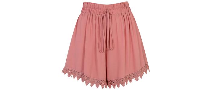 Miss-Selfridge-pink-lace-hem-shorts-£28