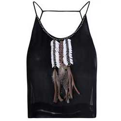 Glamorous-Black-Feather-Detail-Cami-Top