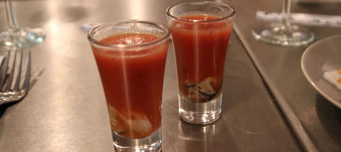 Bloody oyster shots