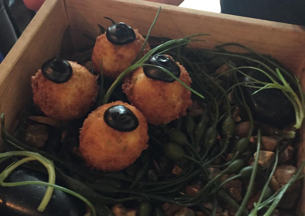 Smoked cod balls as canapes