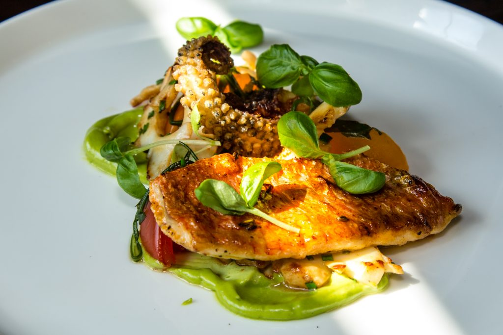 Grilled red mullet, cuttlefish, heritage tomato, monk's beard, basil Jeremy's restaurant