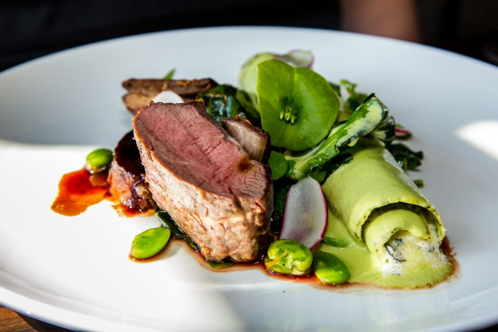 South Down lamb, Slipcote cannelloni, broad beans, chard, pea veloute Jeremy's restaurant