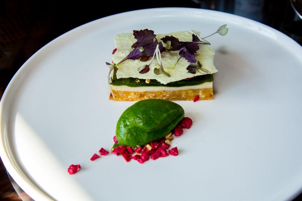 Angelica and hazelnut cheesecake, thyme, raspberry Jeremy's restaurant