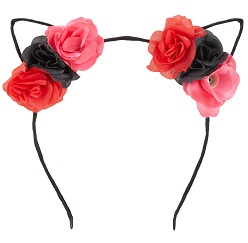 BHF Black & Red Rose head band with cat ears £3.49 Title Sussex Magzine Frida Kahlo inspired fashion www.titlesussex.co.uk