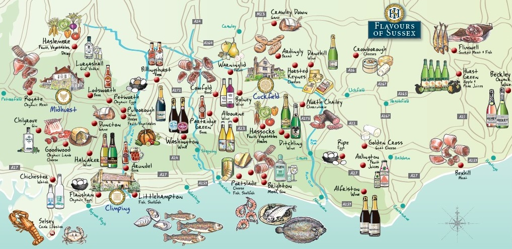 Food map of Sussex producers review on Title Sussex Magazine www.titlesussex.co.uk