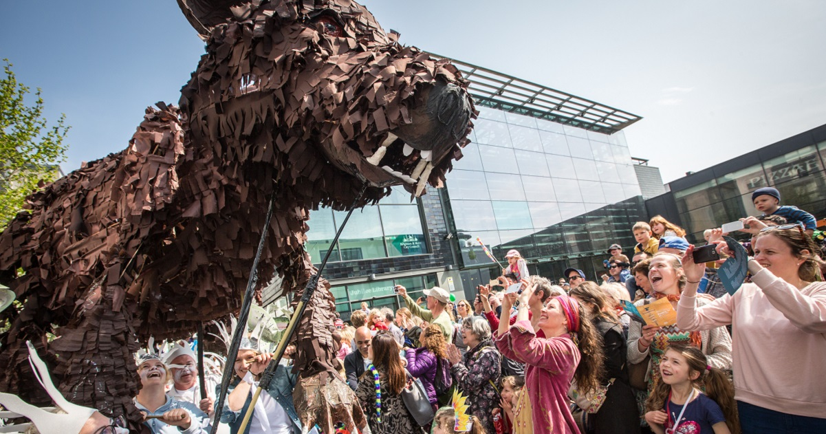 Brighton Festival, Children's Parade, crafted animal photo by Vic Frankowski www.titlesussex.ac.uk